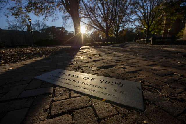 The sun shines on the plaque belonging to W&M's Class of 2020.