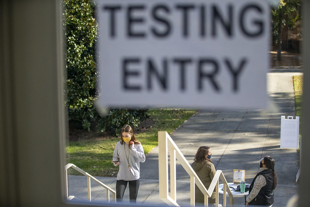 W&M students are tested for COVID-19 before going home for winter break.