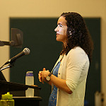 W&M government professor Jaime Settle talks about social media to her audience during Family Weekend.